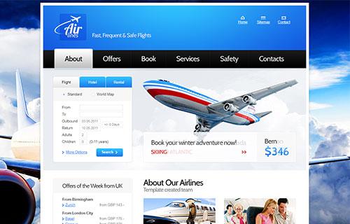 航空公司官方网站模板,飞机机票订购网站模板